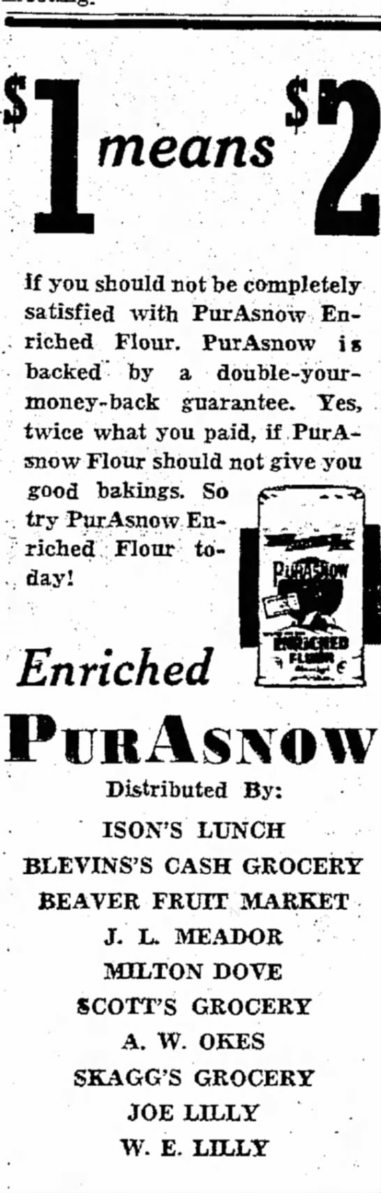 Ison's Lunch - PurAsnow Flour Ad Dec 7 1945