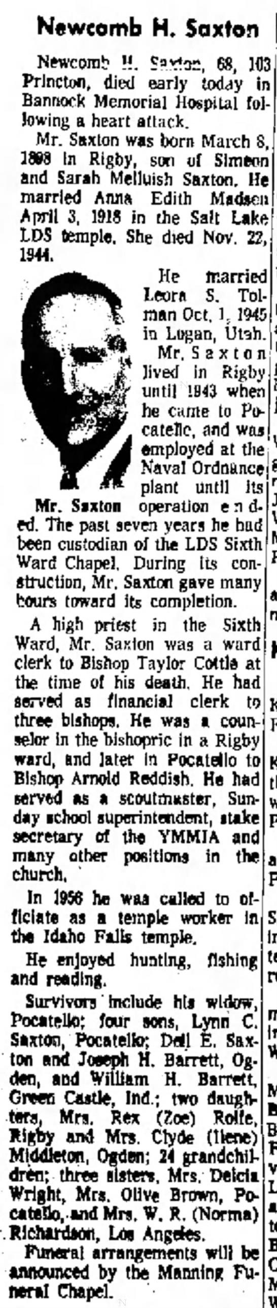 Obituary of Newcomb H. Saxton (1898-1966)