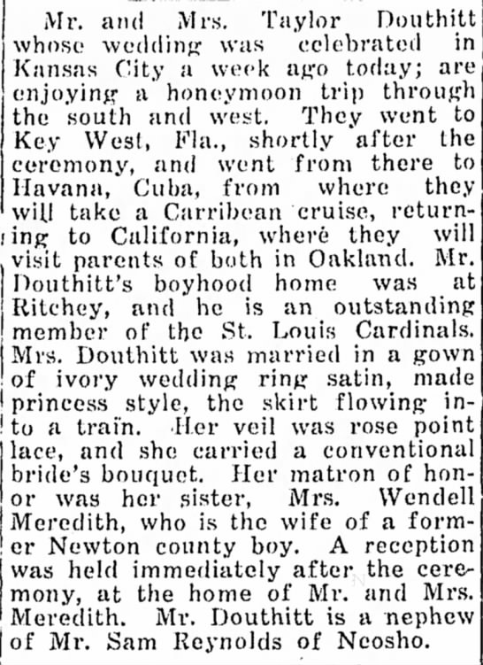 Taylor Douthitt (St. Louis Cardinals) Marriage.