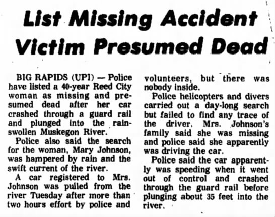 Accident victim missing April 1975