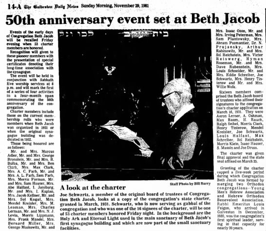 50th Anniversary for Beth Jacob, Nov 1981 - Galveston Daily News