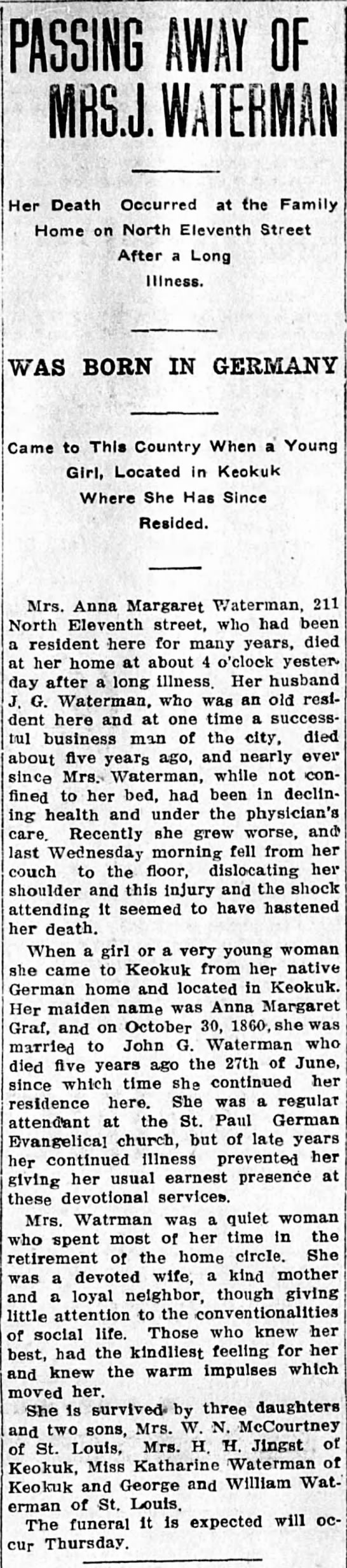 Obituary: Waterman, Anna Margaret (nee Graf) d. 1914
