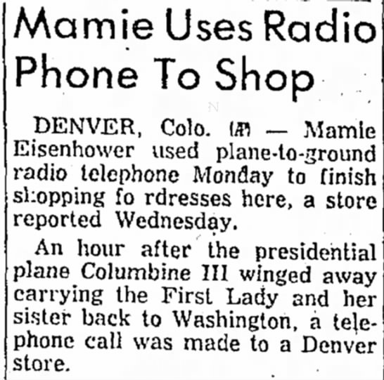 Mamie Eisenhower Shops from the Sky