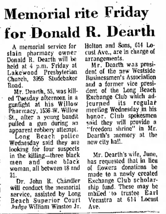 Donald R Dearth memorial