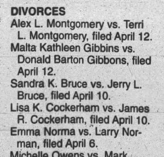 Larry Norman. Divorce filed from Emma.