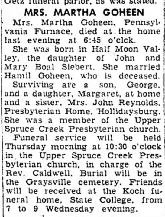 mrs martha goheen dies article dated 13 dec 1955