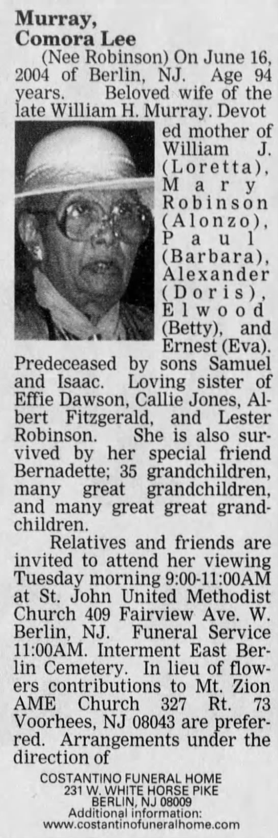 Comora Lee Robinson's obit 20 Jun 2004