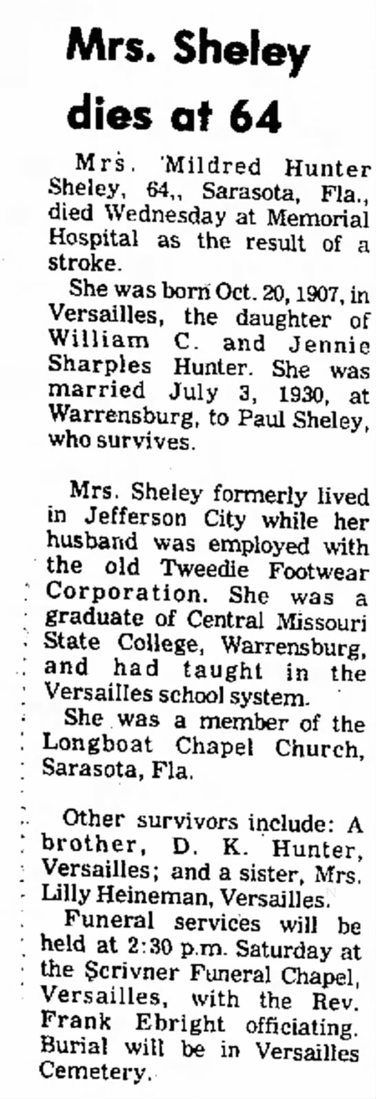 Mrs. Mildred (Hunter) Sheley newspaper obituary