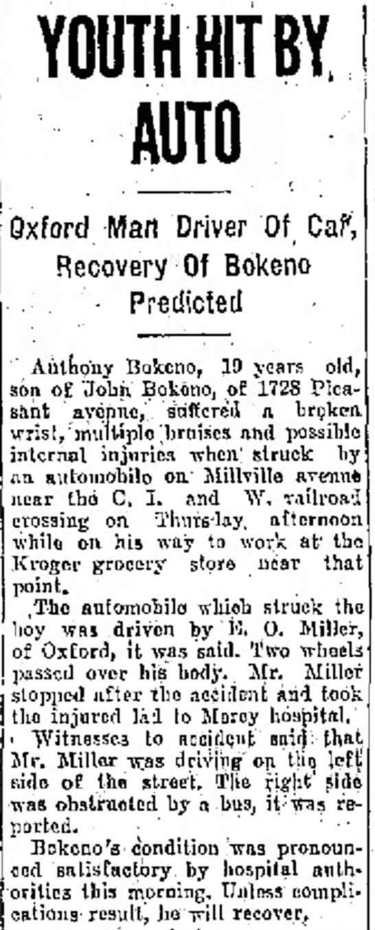 Bokeno_Anthony_Struck By Car 26 Feb 1925 The Journal News