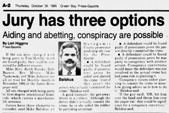 Oct 26, 1995, Monfils Homicide:  Jury has 3 options