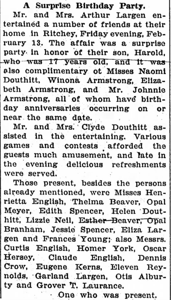 Douthitts at birthday party Feb 19, 1925