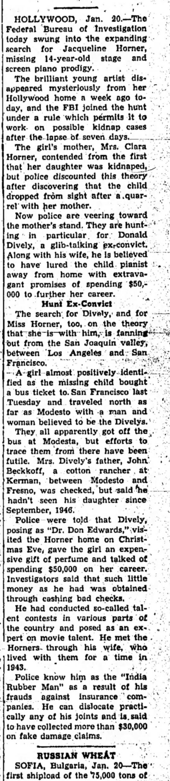 Donald R Dively CA in trouble again 1948