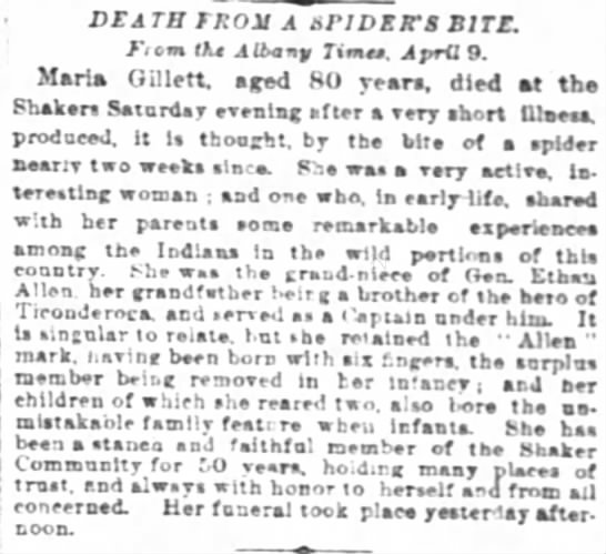 Maria Gillett death NY Apr 1879