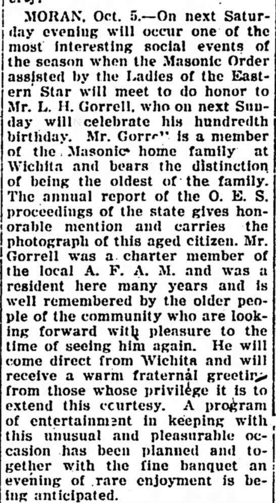 Masonic Ceremony to Honor L. H. Gorrell Iola Register 6 October 1922 Page 2