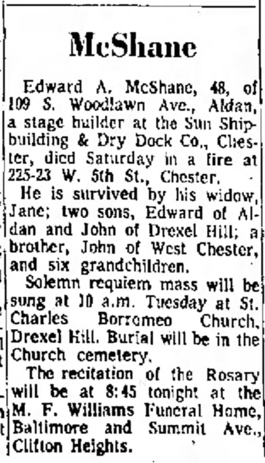 Edward McShane Jr. Obit 19 Oct 1964
