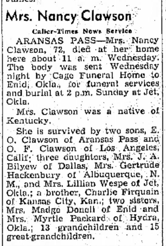 Clawson, Nancy obit (CorpusChristi,TX 1948)