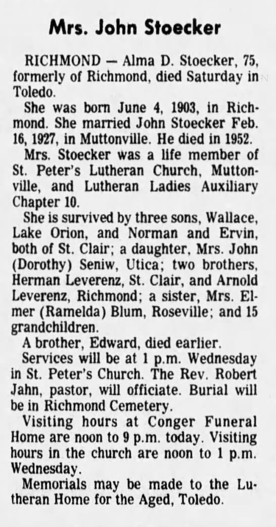 Obituary for Alma Stoecker