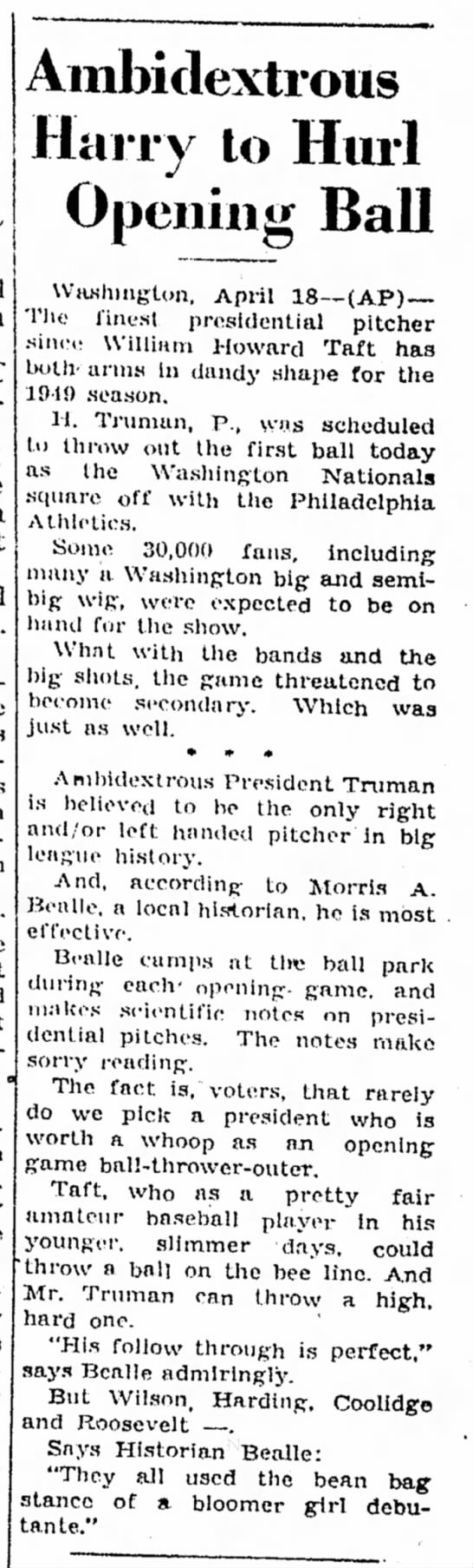 Ambidextrous Harry Truman to Hurl Opening Ball in 1949