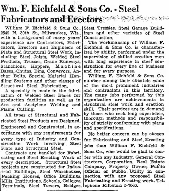 William F. Eichfeld & Sons Co. Steel Fabricators and Erectors Ad from 20 August 1949