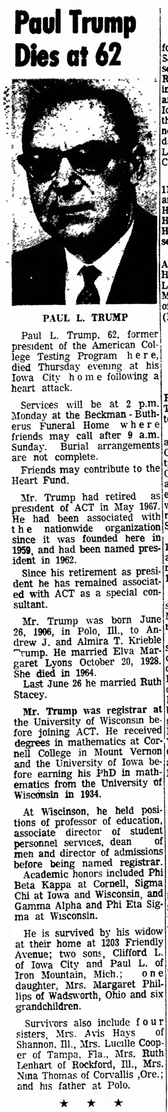 Paul L Trump obituary