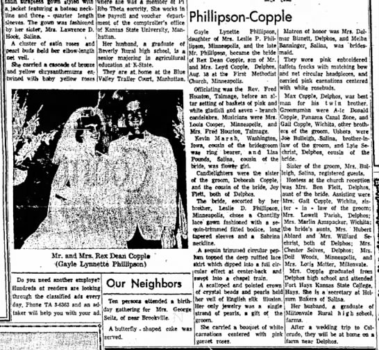 Phillipson-Copple weddingSalina Journal25 Aug 1963