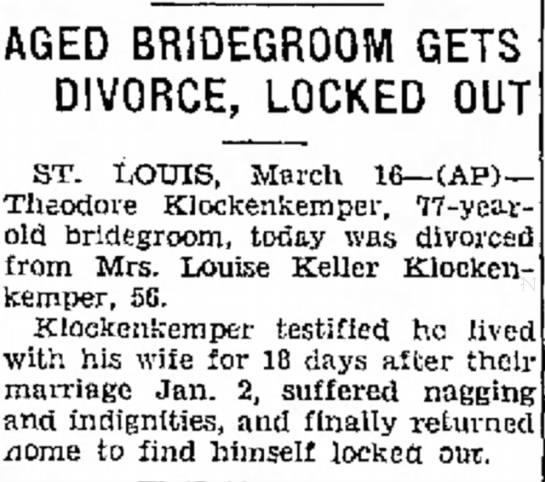 Theodore Klockenkemper divorce