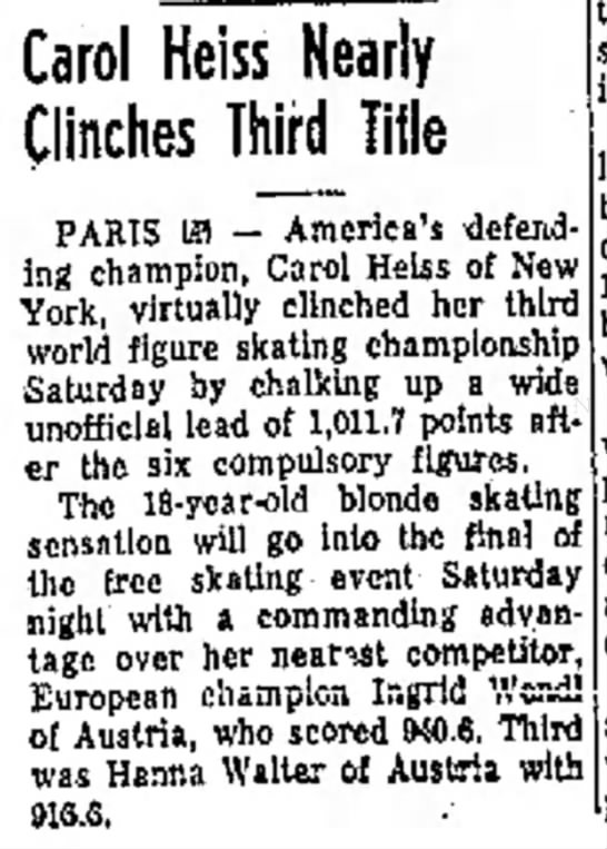 """Figure Skating World Champion Carol Heiss """"Nearly Clinches Third Title"""""""