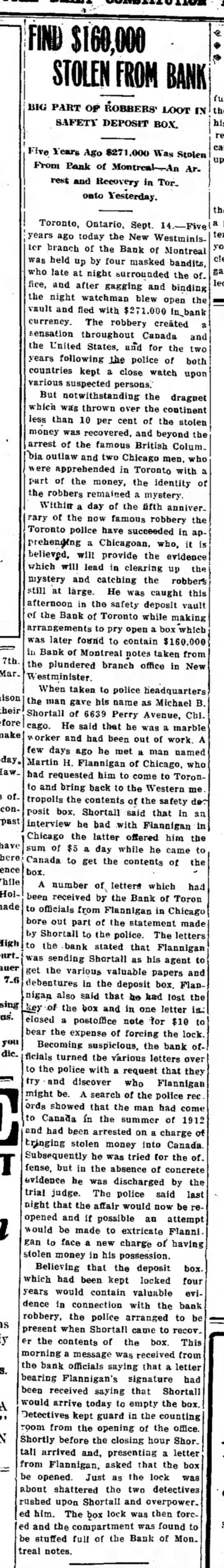 9/14/1916 Robbery Loot found