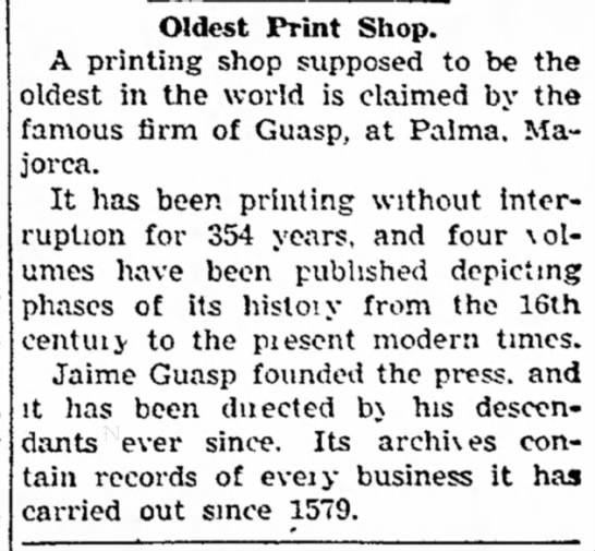 Guasp Printing Press (of Palma) oldest print shop in operation as of 14 Nov 1937