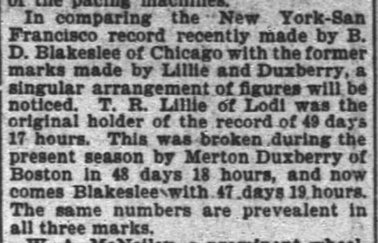 Blakeslee, other record marks, SF Chron, 23 Nov 1895, p. 11