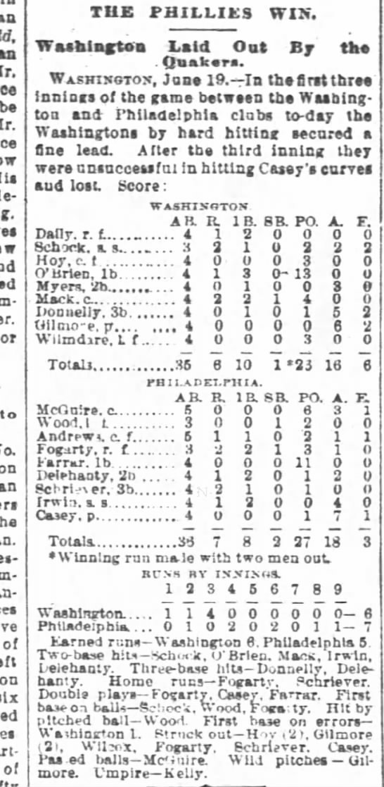 Philadelphia game 1888 in SF Chronicle 20 June 1888