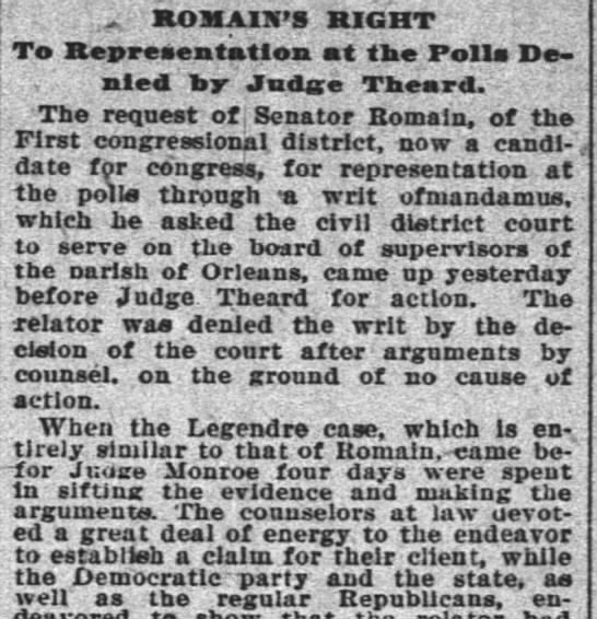 Romain denied Right to Representation at the Polls 10.31.1896