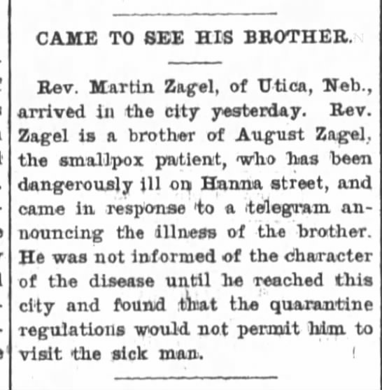 Martin Zagel visit to bro. The Ft.Wayne Sentinel, 29 July 1902, Tues. p.1