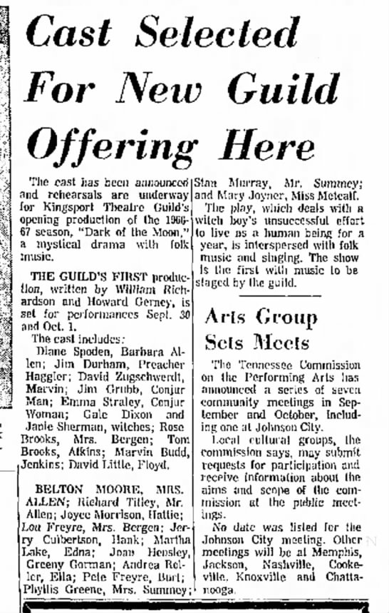 Janie Sherman in Theatre Guild production, 28 Aug 1966, Kingsport Times-News, TN, p. 34.