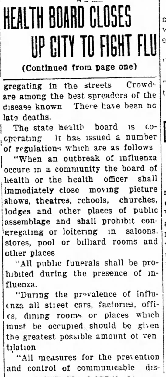 Health Board Closes Up City to Fight Flu (cont. from page 1)