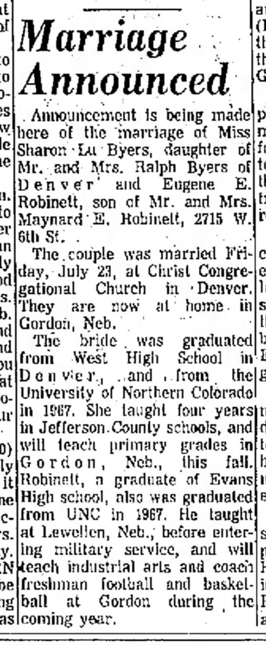 Sharon Byers marriage announcement Greeley Daily Tribune 1 Sep 1971