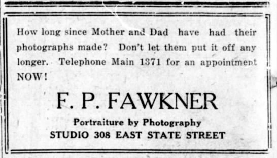 Fred Fawkner advert 1924