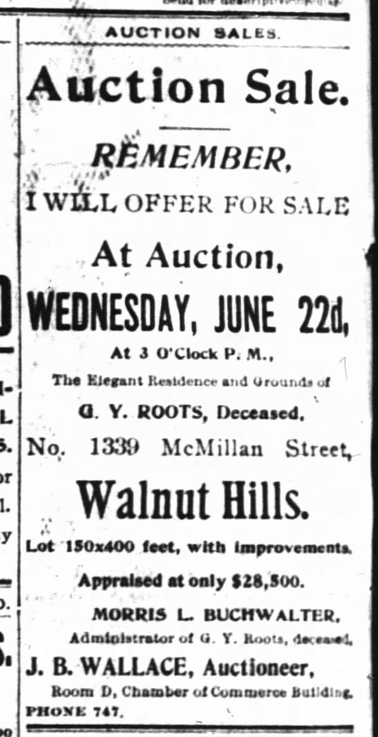 Roots_1339 McMillan_Auction_Cinti Enquirer_18 Jun 1898_Page 8