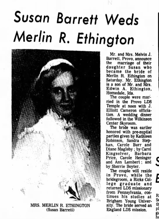 Merlin and Susan  Ethington wedding