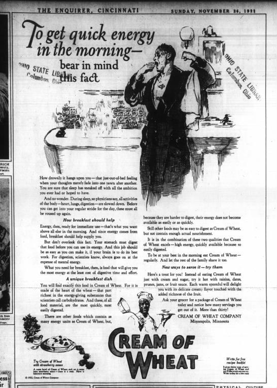 Cream of Wheat ad, 1922