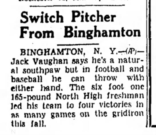 Switch Pitcher Jack Vaughan from Binghamton 1955