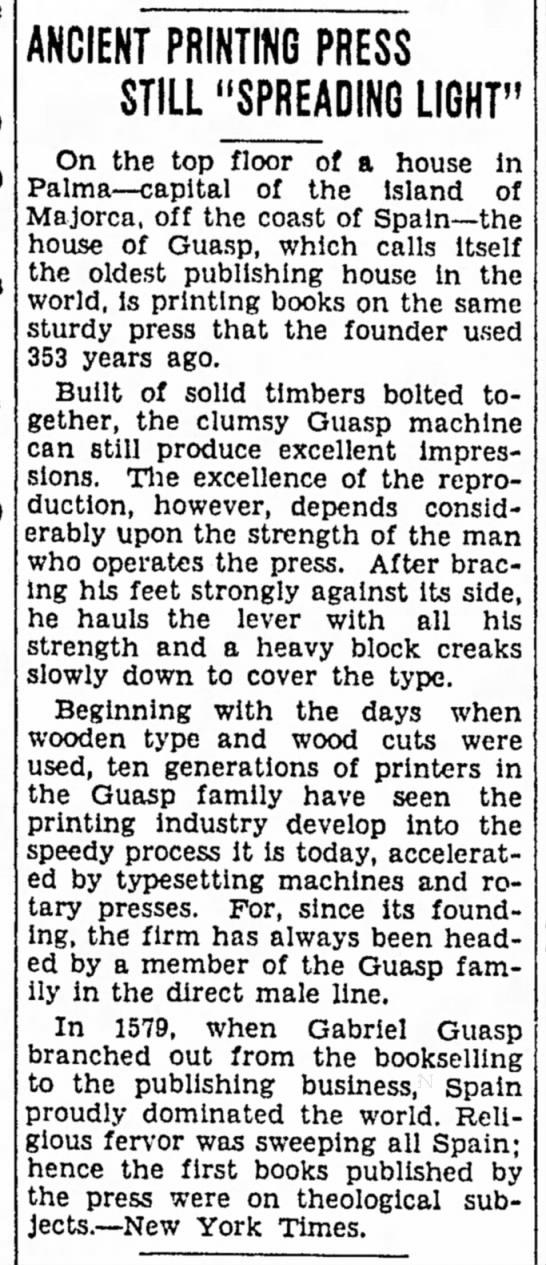 Guasp printing press