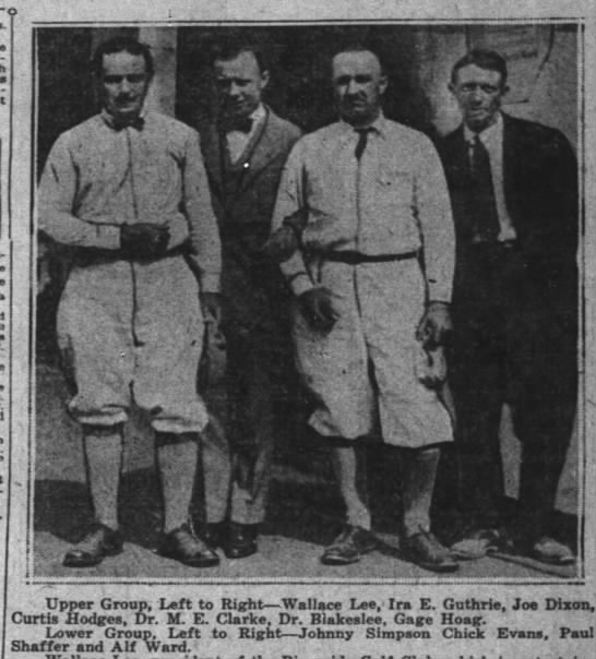 Alf Ward with Johnny Simpson, Chick Evans and Paul Shaffer 23 Jun 1923 p18