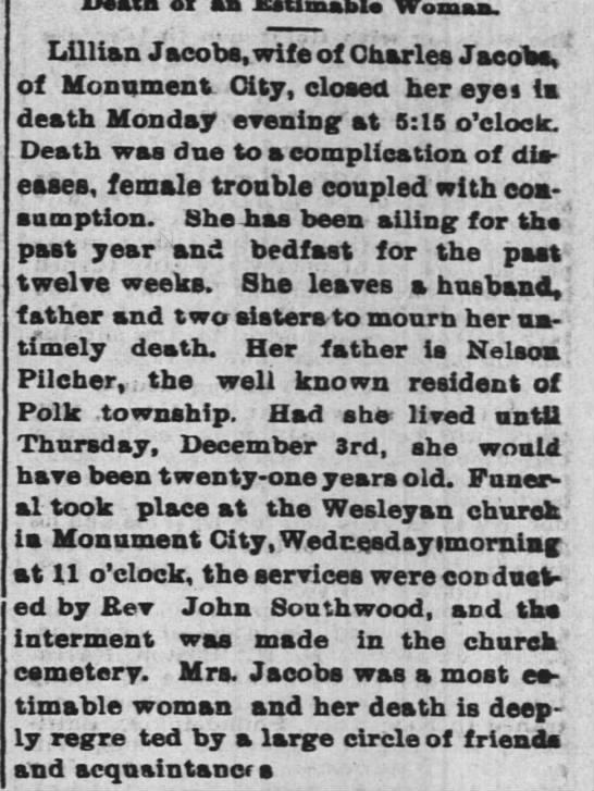 Lillian daughter of Nelson Plicher dies 3 dec 1896