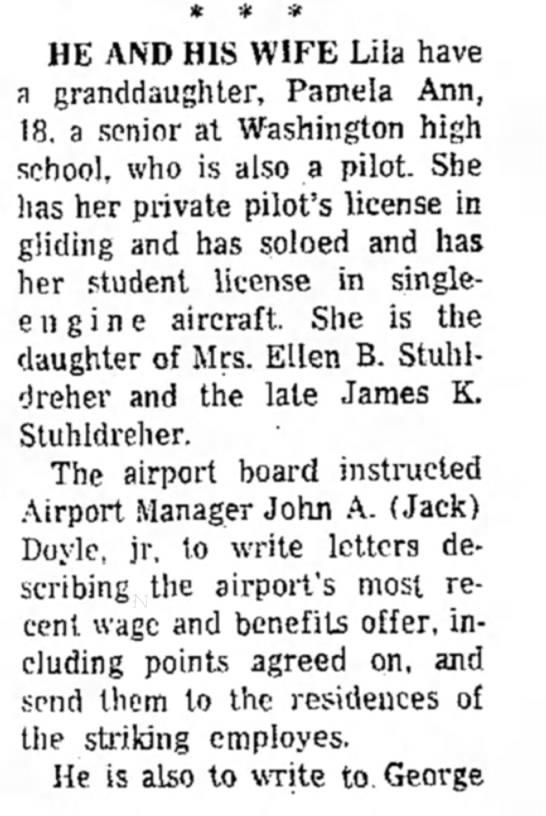 Pamela Stuhldreher gets her pilot's license at age 18.