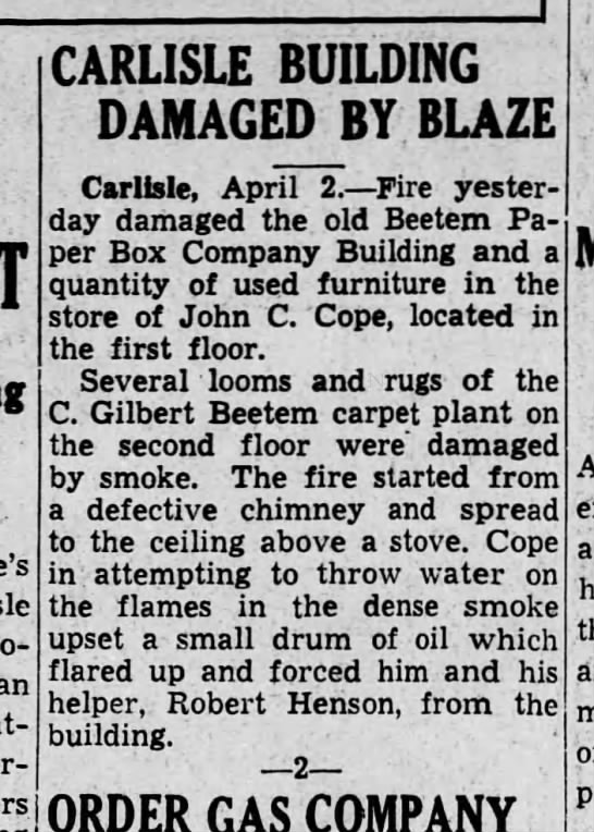 Beetem carpet fire damage 1937