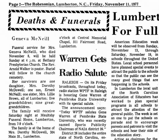 Ernest McNeill - The Robesonian , Lumberton, N.C. 11 Nov. 1977, Friday pg 2