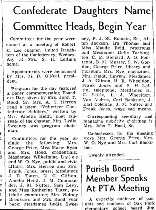 Coleman, Mrs. Earl - UDC Committee announcement, 9 Sep 1955
