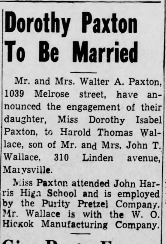 Wallace-Paxton engagement annoucement 1943