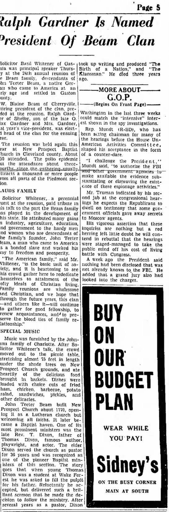 Beam Clan ReunionGalstonia Gazette, N.C. 8-13-1948, p. 5